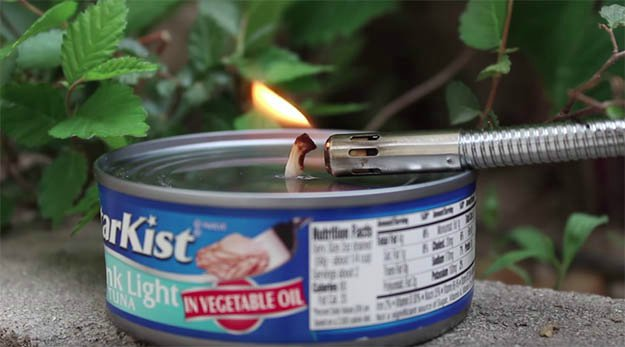 Use Any Fire Starter To Light Up The Wick   How to Make a Tuna Oil Lamp