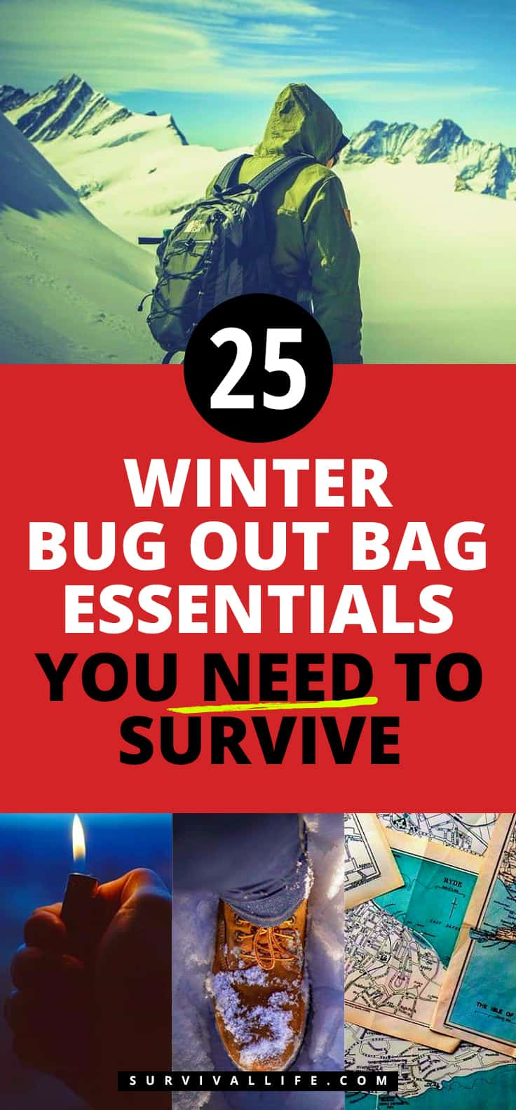 Placard | Winter Bug Out Bag Essentials You Need To Survive | military bug out bag