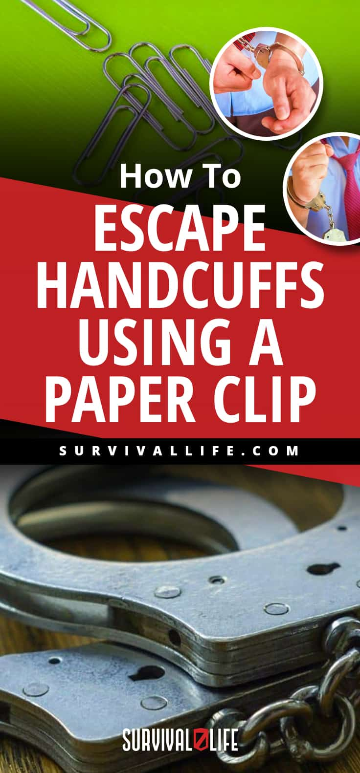 Placard   How To Escape Handcuffs Using A Paper Clip   how to pick handcuffs