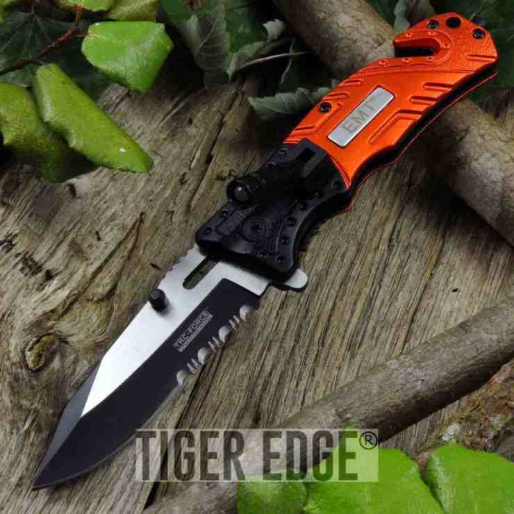 TAC Force Orange EMT Pocket Knife | Eye-Catching Folding Hunting Knives