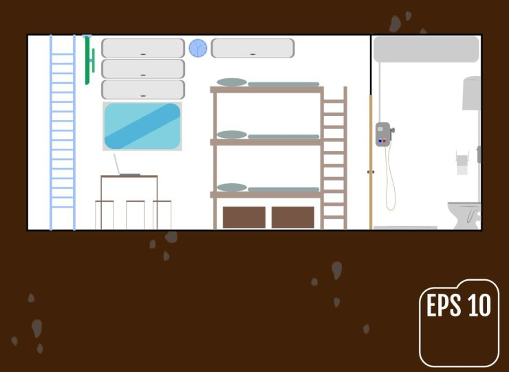Safe room, home bunker vector illustration | How To Build Your Own Underground Bunker For Survival