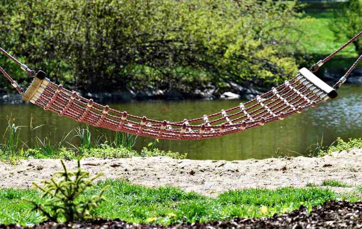 Hammock in front of a river | DI Paracord Hammock Chair