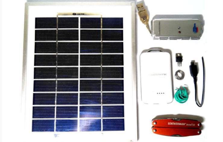 gathering materials | DIY Solar-Powered Cellphone Charger | diy solar-powered | solar panel