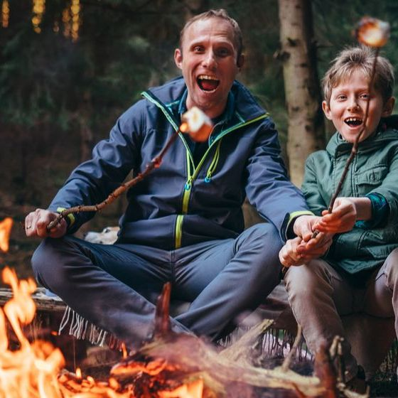 father-son-overroast-their-marshmallow-candies | Campfire Recipes | Featured