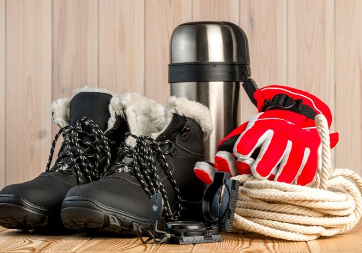 objects winter extreme trekking on wooden   winter cold survival kit