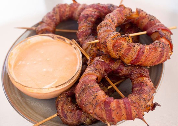 Bacon Wrapped Onion Rings | Homemade Grilling Recipes & Ideas