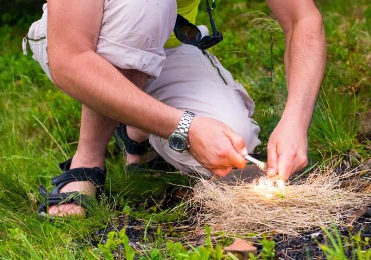 starting fire firesteel man lighting dark | tampon uses alternative