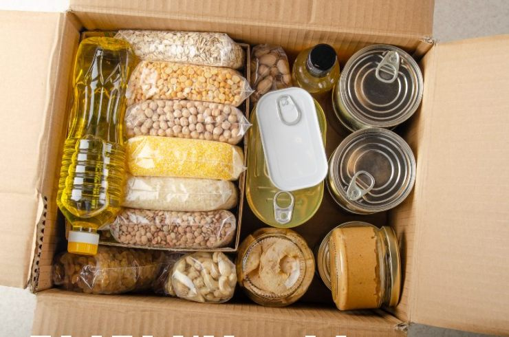uncooked foods in carton box prepared for disaster emergency conditions or giving away-food kit-ss-featured