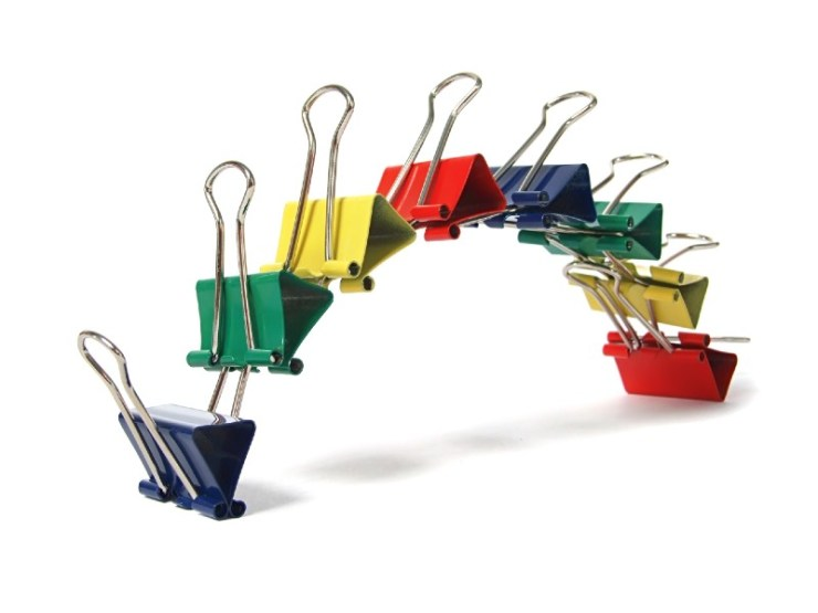 Colored paper binder isolated on white-binder clips