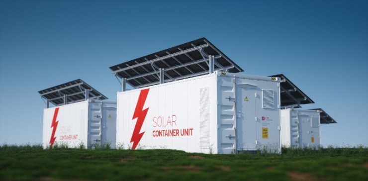 Solar container unit. 3d rendering concept of a white industrial battery energy storage container-Lithium-Ion Batteries