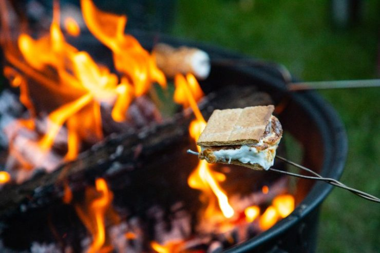 Cooking s'mores on a cool summer night in the mountains of northern Idaho-easy camping recipes