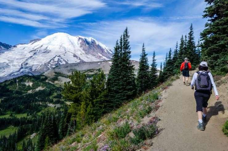 Hikers on Burroughs Mountain trail, Mount Rainier National Park-best hiking trails