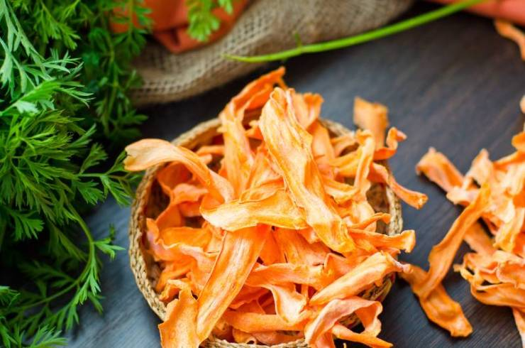 Dehydrated carrots. Natural organic vegetarian food | good foods to dehydrate