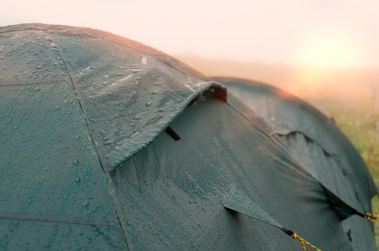 Tent with water drops-Camping In The Rain