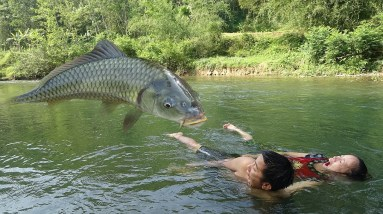 Unique Fishing: Survival Skills Catch Fish At River For Food