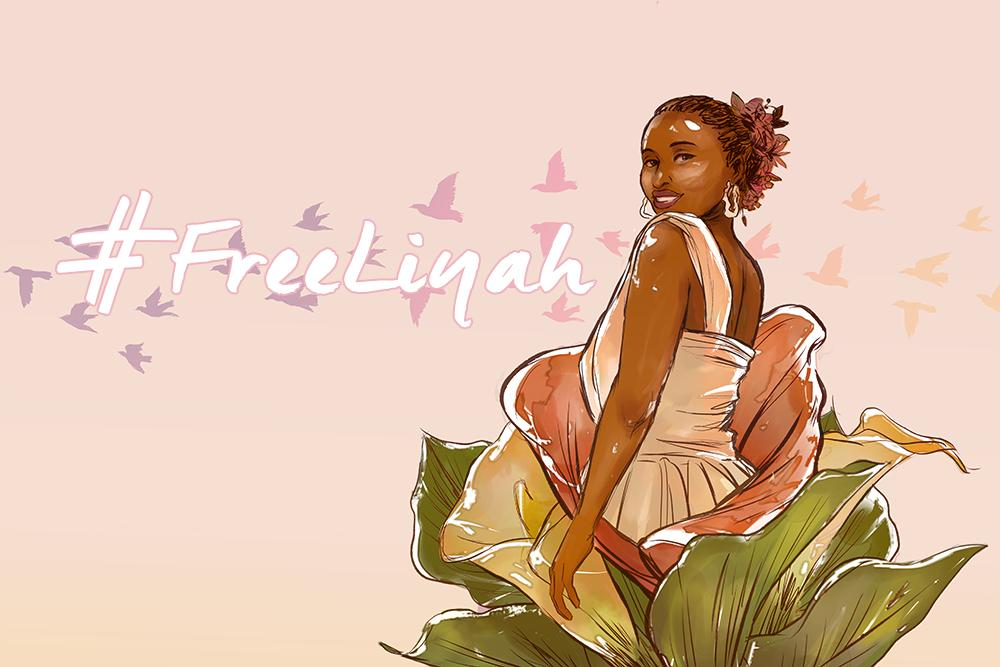 drawing of liyah with text '#freeliyah'