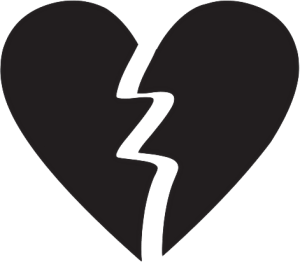 Broken Heart Icon Black