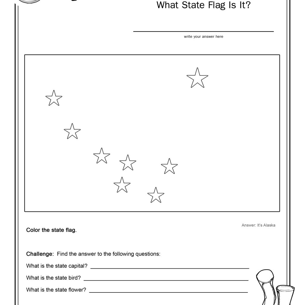 Coloring Page State Flag Alaska Printable Worksheet