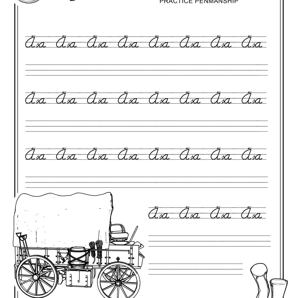 Free Printable Beginner Practice Cursive Worksheet A A