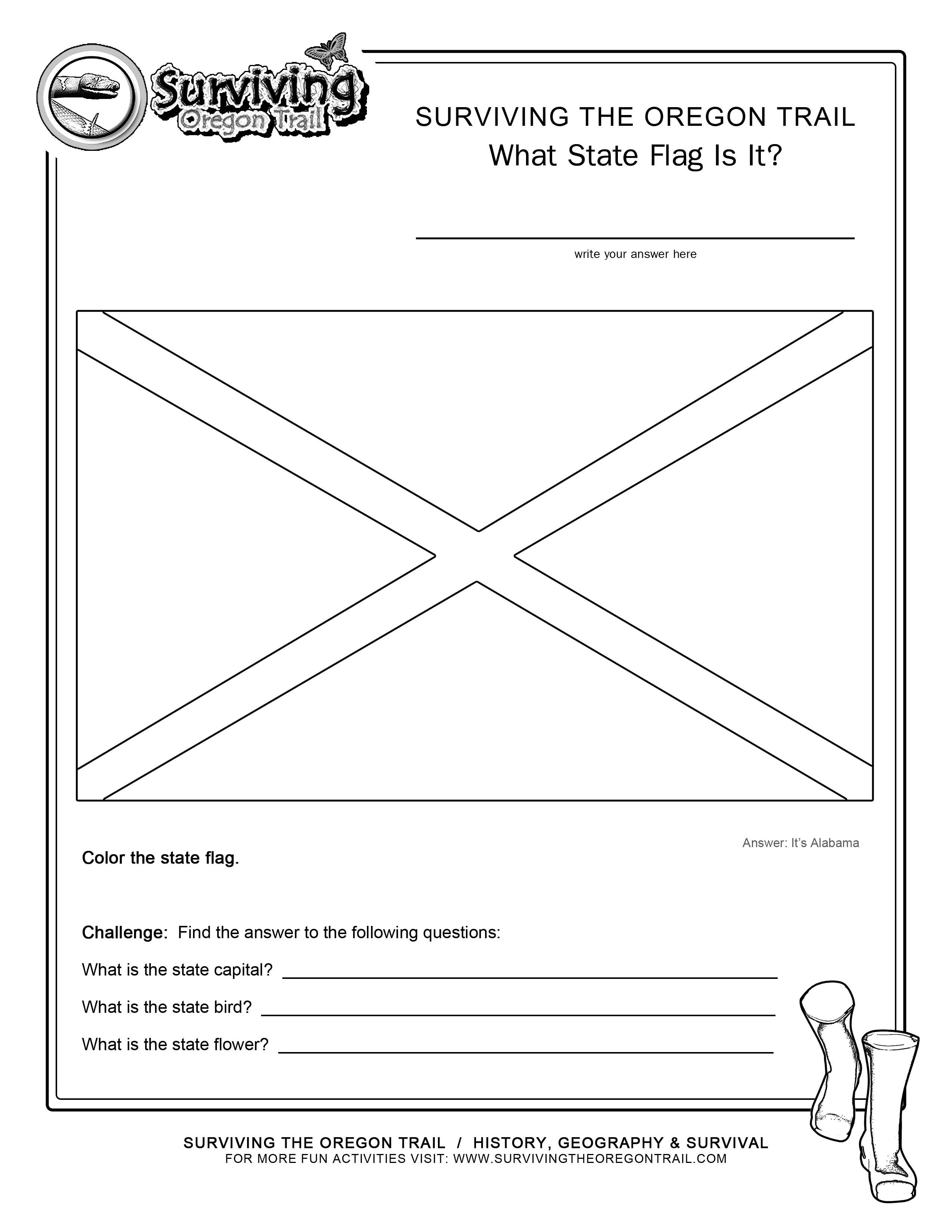 Coloring Page State Flag Alabama Printable Worksheet