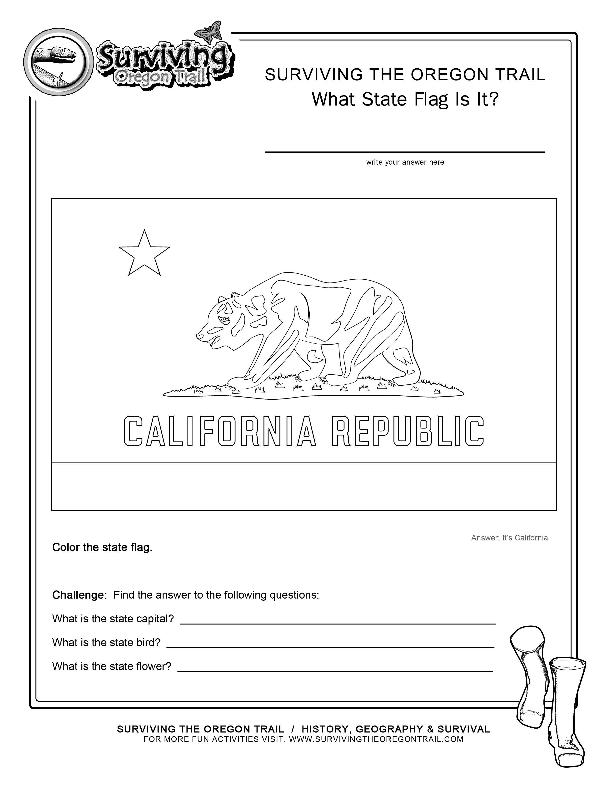 Coloring Page State Flag California Printable Worksheet Surviving The Oregon Trail