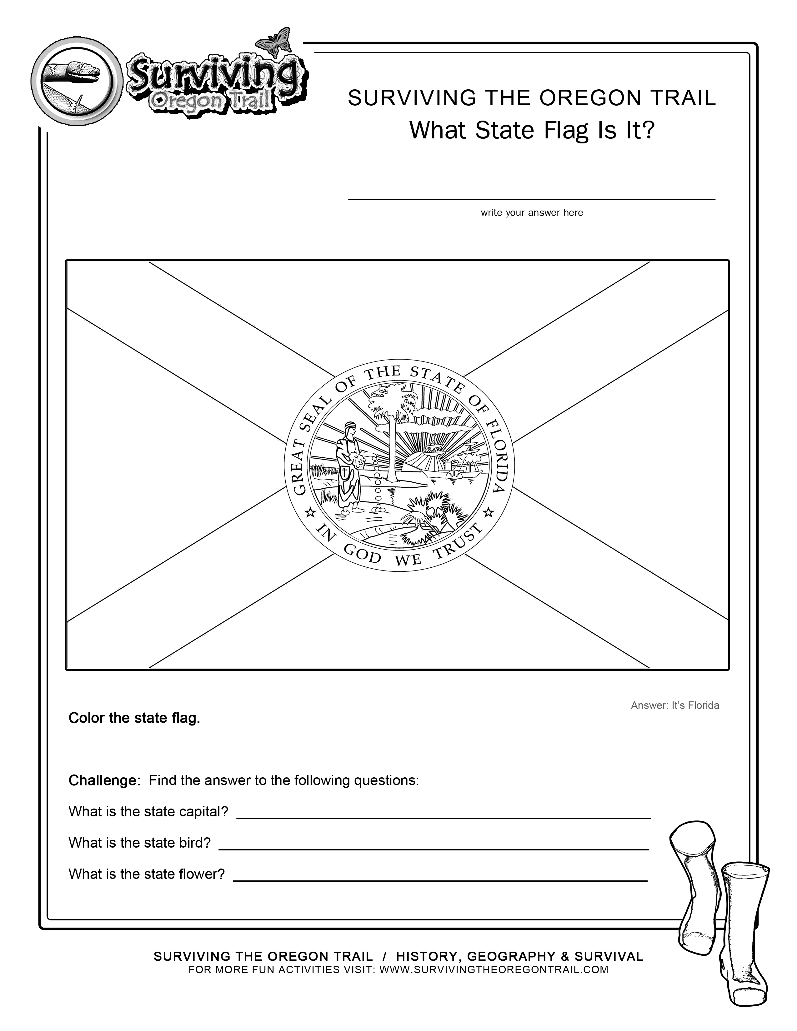 Coloring Page State Flag Florida Printable Worksheet