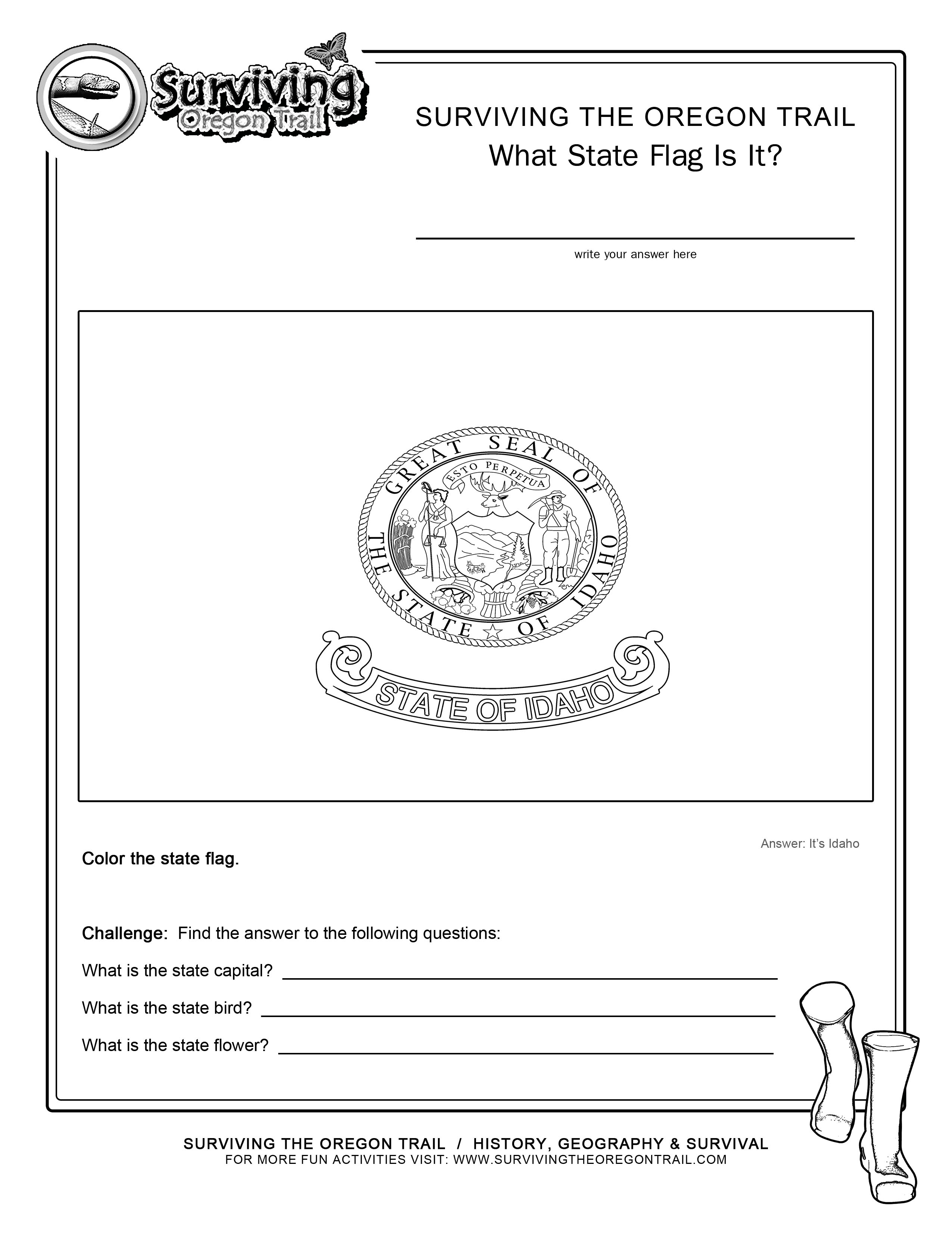 Coloring Page State Flag Idaho Printable Worksheet Surviving The Oregon Trail