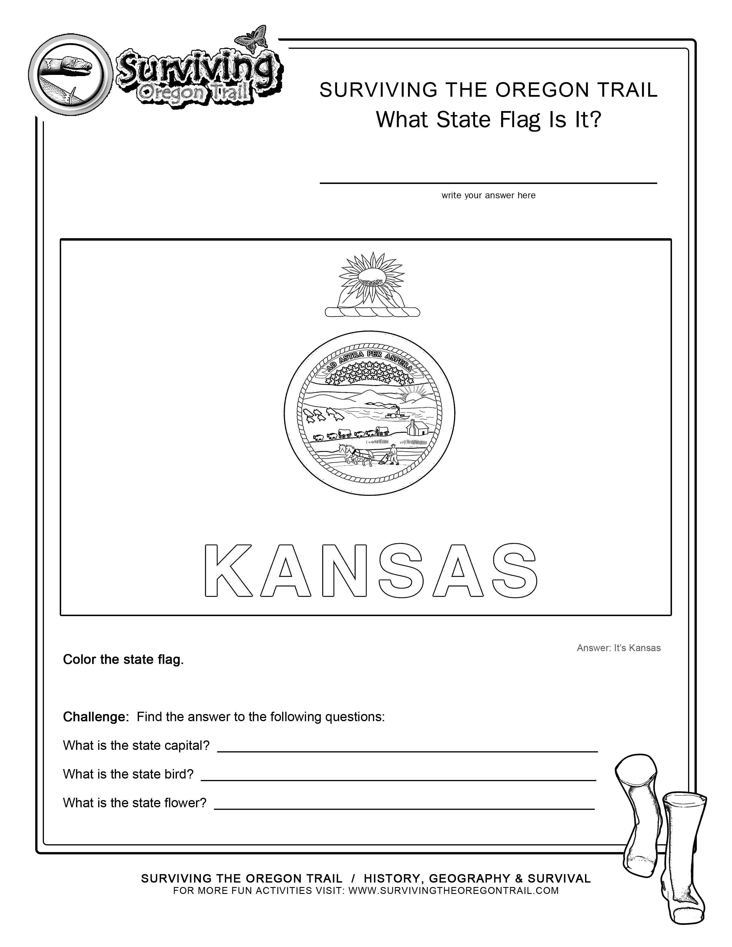 Coloring Page State Flag Kansas Printable Worksheet Surviving The Oregon Trail