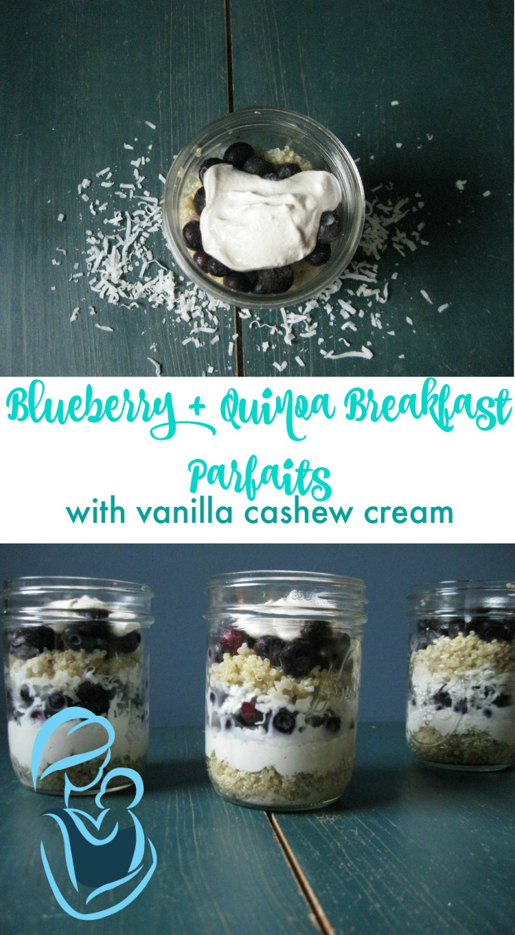 Quinoa and Blueberry Breakfast Parfaits are a quick, easy, and cool treat for your next busy day. Grain free, dairy free, sugar free, and low carb these are perfect for those following THM.