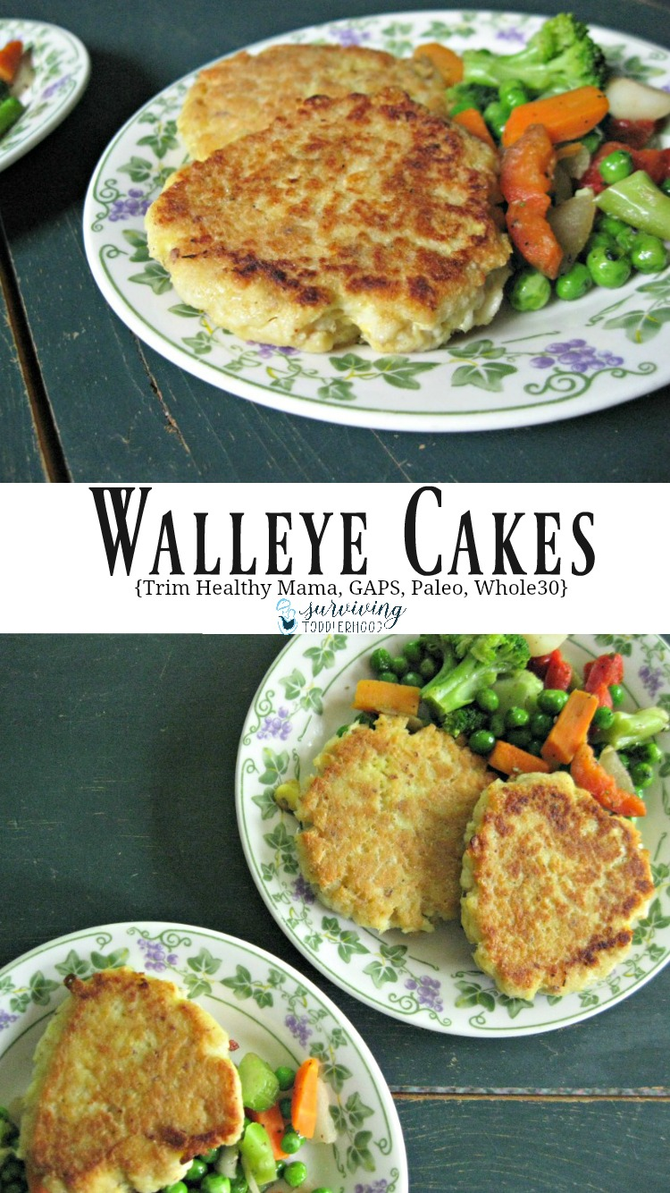 These Walleye cakes are perfect for those following Trim Healthy Mama, GAPS, Whole30 or a Paleo diet. They only take a couple of minutes to mix together, perfect for those rushed days where you are trying to get a healthy filling lunch in. If you are following Trim Healthy Mama, these can be made S or E style, the recipe includes instructions for both meal types. If you are on the GAPS diet, these can be introduced in stage 3. Whole30 and Paleo followers can eat these delicious fishcakes whenever. :-)