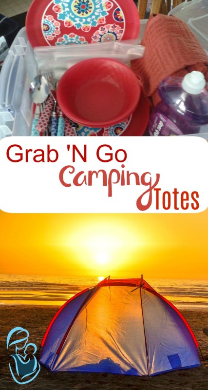 Make your own Grab 'N Go camping totes for around $35 per person. Grab and Go camping totes make those quick and spontaneous trips in the great outdoors, so much easier! Grab your free printable camping tote labels on www.survivingtoddlerhood.com Family Travel | Family Camping | Toddler Life | Camping with Children | Mom Hacks | Life Hacks | Camping Hacks | Natural Mothering | Motherhood