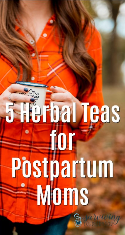 5 Herbal Teas for Postpartum Moms. Every momma should know about these teas as she enters the first year postpartum. #postpartumcare #postpartum #postpartumtips #newborn #pregnancytips #pregnancy #thefirstsixweeks #naturalremedies