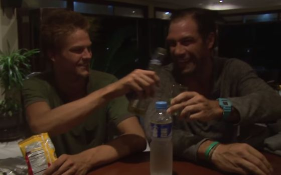 Spencer and LJ toast at Ponderosa