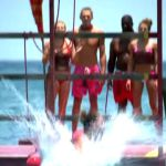 Survivor castaways plunge into the water