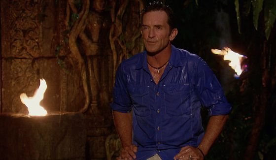 Jeff Probst in a drenched Tribal Council