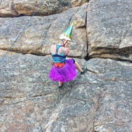 Bumble climbing in her birthday swag
