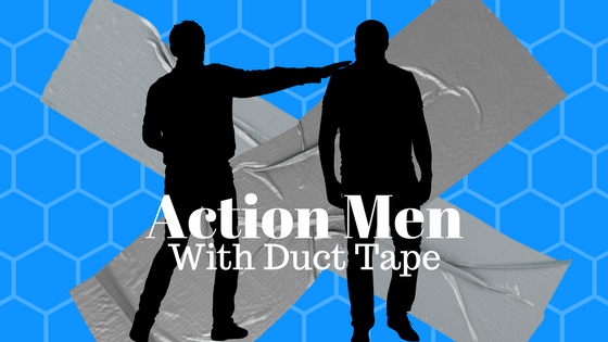 mystery serial title header showing two silhouettes of men and duct tape