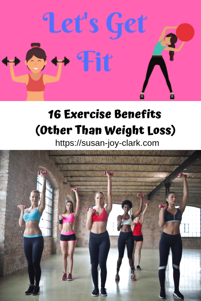 16 exercise benefits (other than weight loss.) Image shows women using dumbbells in an exercise class.