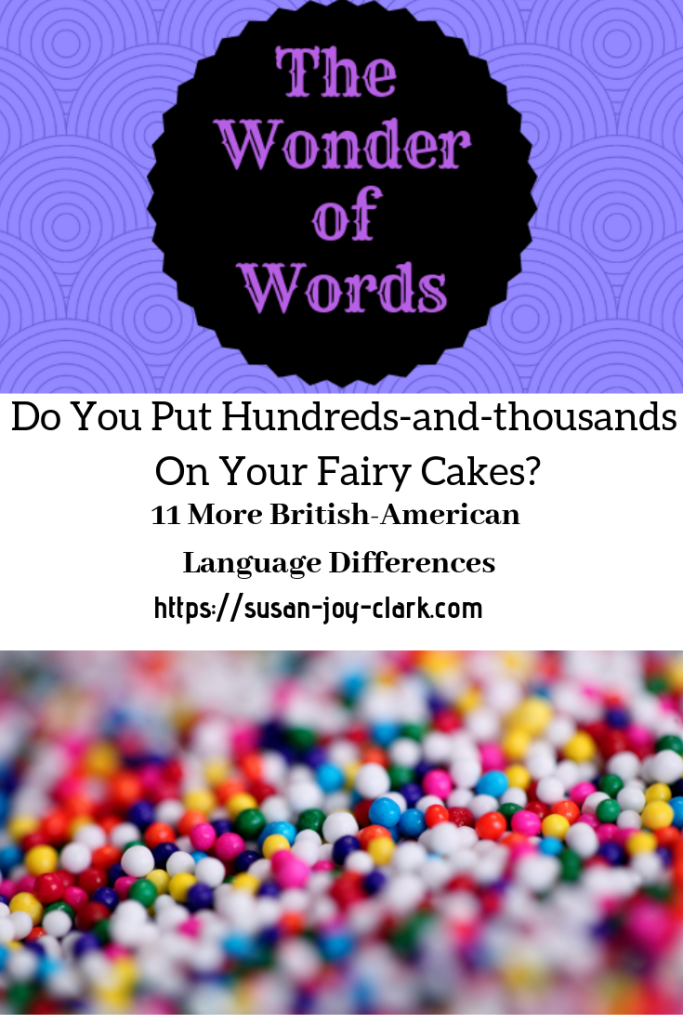 A graphic for American and British English words list, showing sprinkles/hundreds-and-thousands