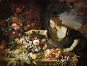 """""""Mujer con flores y frutas"""" de Brueghel"""