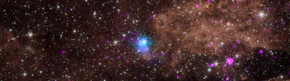 The blue dot in this image marks the spot of an energetic pulsar -- the magnetic, spinning core of star that blew up in a supernova explosion. NASA's NuSTAR discovered the pulsar by identifying its telltale pulse.