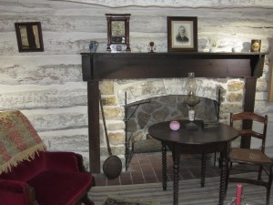 Interior of Adair Cabin in Osawatomie, where Merritt Anthony was married. Photo by Jeanne Gehret