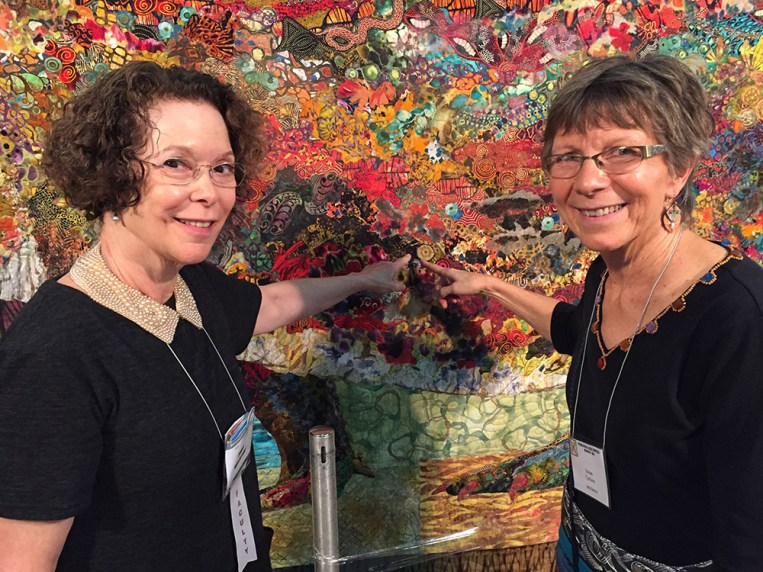 It was so cool to meet Paula Nadelstern, a rock star of the quilting world. And she is such a lovely person too. Here we are pointing out one of the fabrics she had designed, that I had included in Stevie the Crocodile.