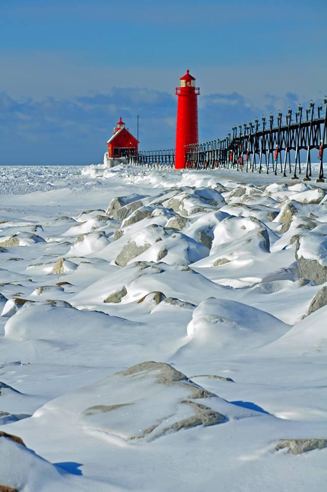 Lake MI winter lighthouse