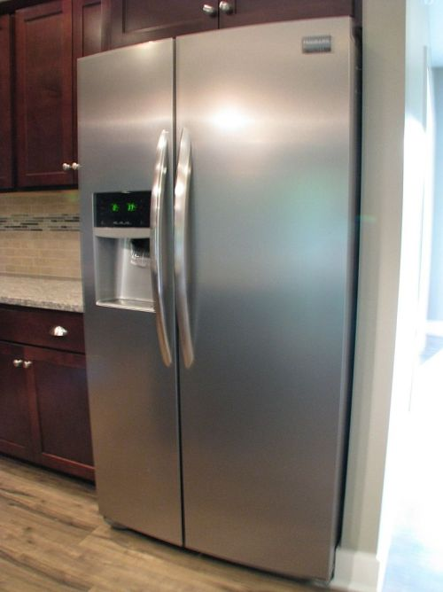 Side by side stainless steel refrigerator.