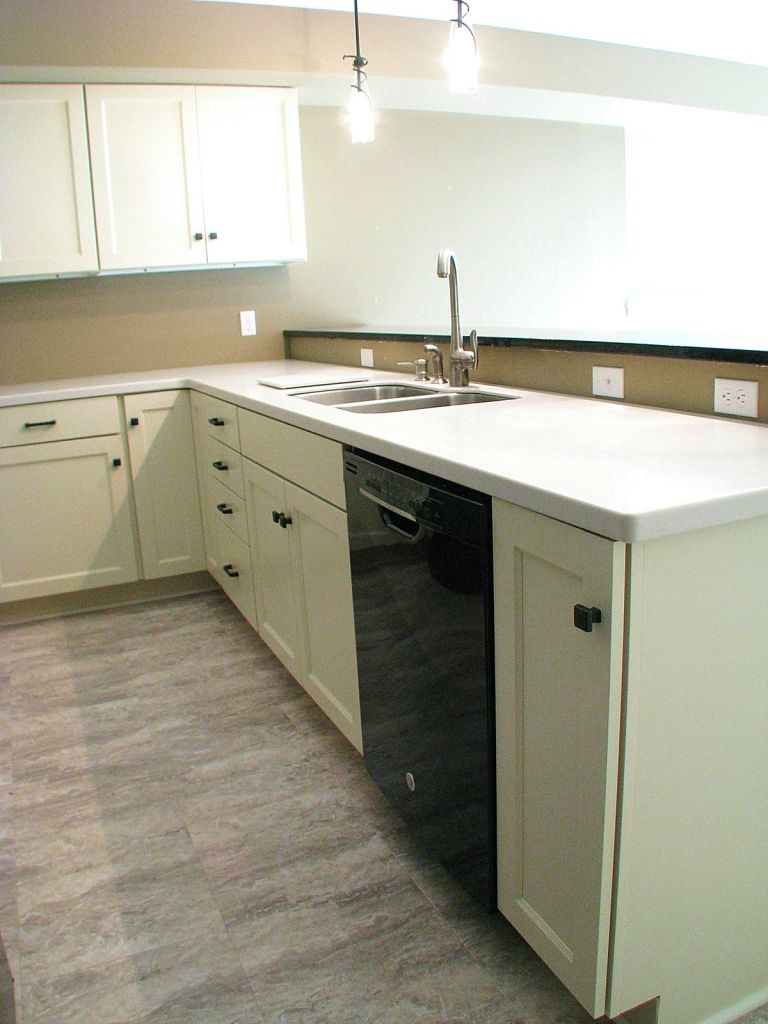 2447 Nuttall Court-Kitchen in lower level-Double sink with brushed nickel high rise faucet, black dishwasher