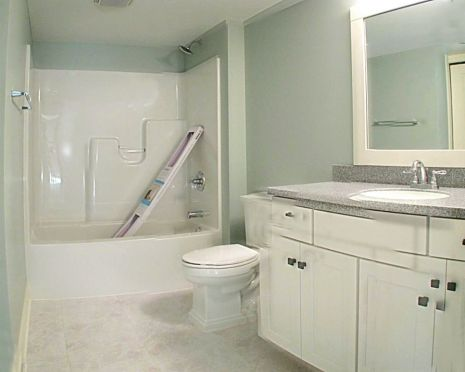 2447 Nuttall Court-Full bath in lower level-One piece tub/shower combination-Safety bar in the tub-White cabinets-Brushed nickel high rise faucet-Hard surface counter top