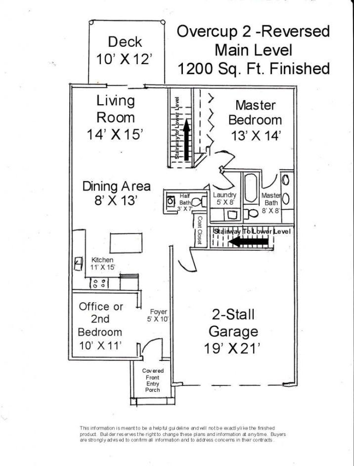 Main floor plan of reversed Overcup 2 Unit