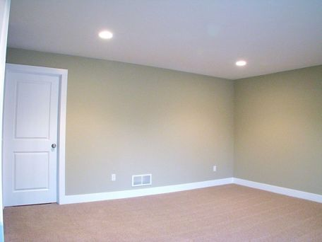 Lower level family room with recessed lighting