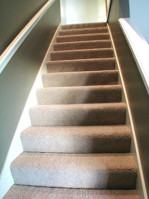 Carpeted stairway from lower level famiiy room to living room